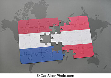 puzzle with the national flag of netherlands and austria on ...