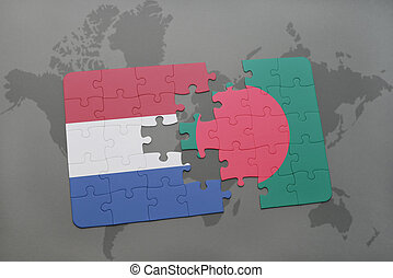 puzzle with the national flag of netherlands and bangladesh on a world map background.