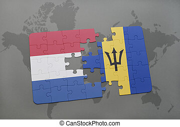 puzzle with the national flag of netherlands and barbados on a world map background.