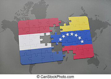 puzzle with the national flag of netherlands and venezuela ...