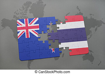 puzzle with the national flag of new zealand and thailand on a world map background. 3D illustration