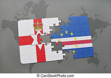 puzzle with the national flag of northern ireland and cape verde on a world map