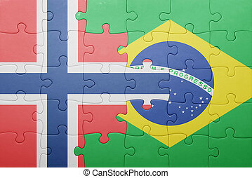 puzzle with the national flag of norway and brazil