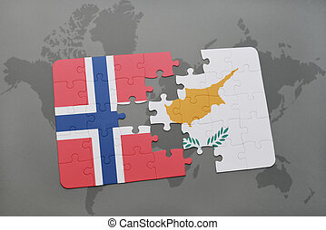 puzzle with the national flag of norway and cyprus on a world map background.