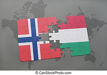 puzzle with the national flag of norway and hungary on a world map background.