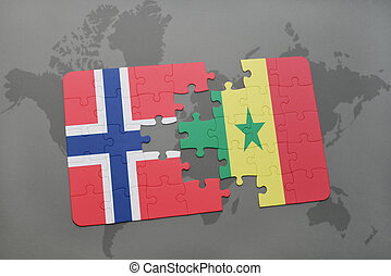 puzzle with the national flag of norway and senegal on a world map
