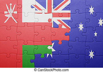 puzzle with the national flag of oman and australia