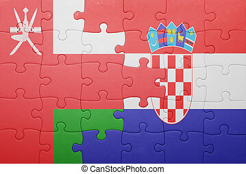 puzzle with the national flag of oman and croatia