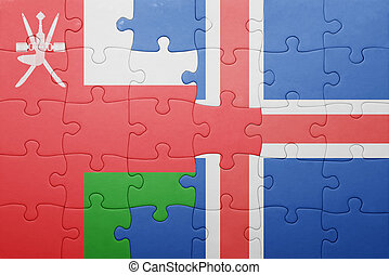 puzzle with the national flag of oman and iceland
