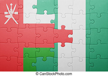puzzle with the national flag of oman and nigeria