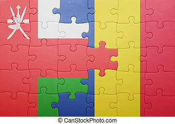 puzzle with the national flag of oman and romania