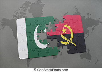 puzzle with the national flag of pakistan and angola on a world map background.