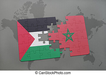 puzzle with the national flag of palestine and morocco on a world map