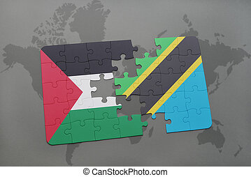 puzzle with the national flag of palestine and tanzania on a world map
