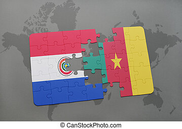 puzzle with the national flag of paraguay and cameroon on a world map