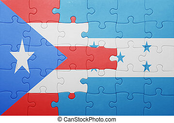 puzzle with the national flag of honduras and puerto rico...
