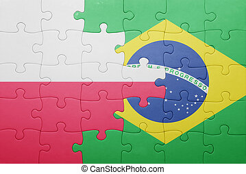 puzzle with the national flag of poland and brazil