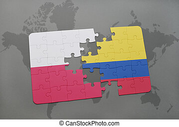 puzzle with the national flag of poland and colombia on a world map background. 3D illustration