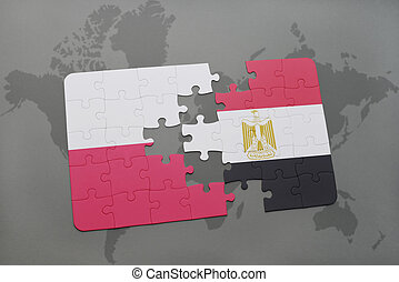 puzzle with the national flag of poland and egypt on a world map background. 3D illustration