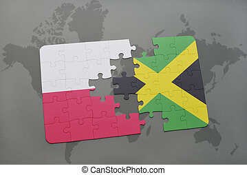 puzzle with the national flag of poland and jamaica on a world map background. 3D illustration