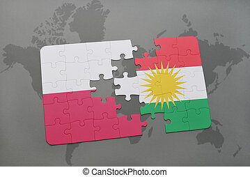 puzzle with the national flag of poland and kurdistan on a world map background. 3D illustration