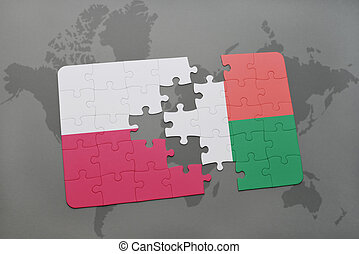 puzzle with the national flag of poland and madagascar on a world map background. 3D illustration