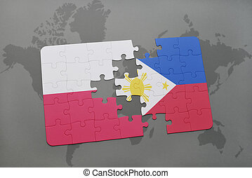 puzzle with the national flag of poland and philippines on a world map background. 3D illustration