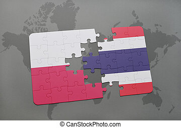 puzzle with the national flag of poland and thailand on a world map background. 3D illustration