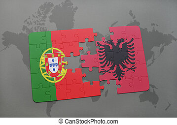 puzzle with the national flag of portugal and albania on a world map background.