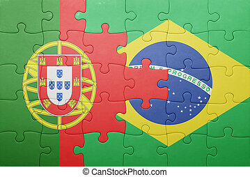 puzzle with the national flag of portugal and brazil