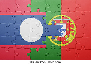 puzzle with the national flag of portugal and laos