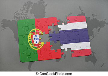puzzle with the national flag of portugal and thailand on a world map background.