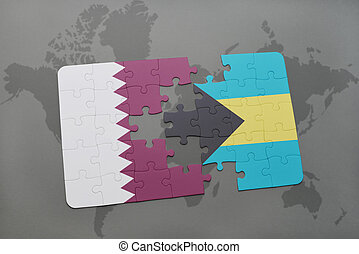 puzzle with the national flag of qatar and bahamas on a world map background.