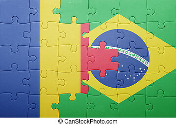 puzzle with the national flag of romania and brazil