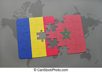 puzzle with the national flag of romania and morocco on a world map