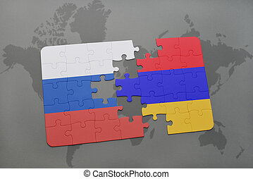 puzzle with the national flag of russia and armenia on a world map background.