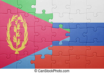 puzzle with the national flag of russia and eritrea