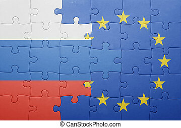 puzzle with the national flag of russia and european union