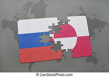 puzzle with the national flag of russia and greenland on a world map background.