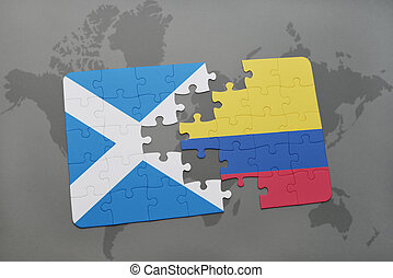 puzzle with the national flag of scotland and colombia on a world map
