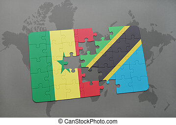puzzle with the national flag of senegal and tanzania on a world map