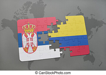 puzzle with the national flag of serbia and colombia on a world map