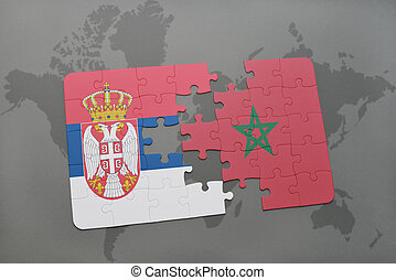 puzzle with the national flag of serbia and morocco on a world map