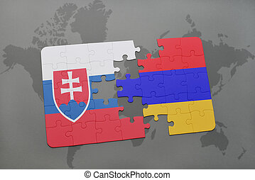 puzzle with the national flag of slovakia and armenia on a world map background.