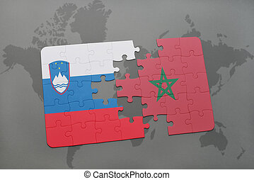 puzzle with the national flag of slovenia and morocco on a world map