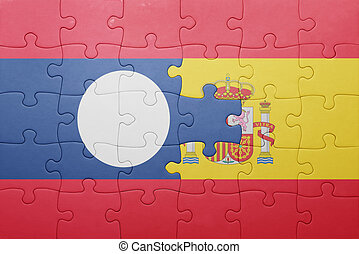 puzzle with the national flag of spain and laos