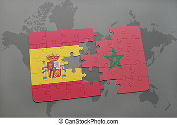 puzzle with the national flag of spain and morocco on a world map background.