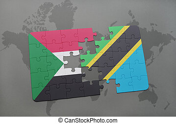 puzzle with the national flag of sudan and tanzania on a world map