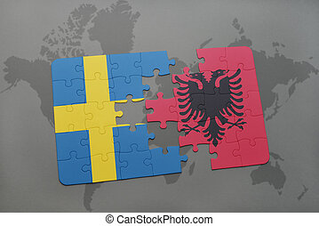 puzzle with the national flag of sweden and albania on a world map background.