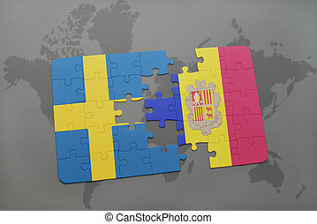 puzzle with the national flag of sweden and andorra on a world map background.